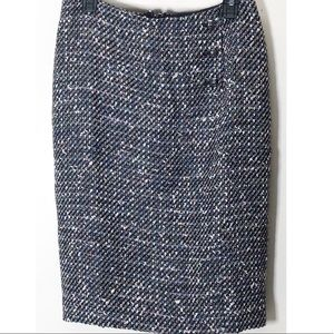 Talbots confetti black tweed pencil skirt sz 8 NWT